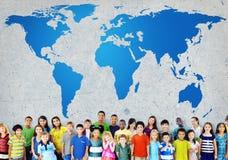 Mappa di mondo globale di globalizzazione Concservation ambientale Conce fotografia stock libera da diritti