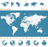 Mappa di mondo, globi, continenti, icone di navigazione - illustrazione Fotografie Stock