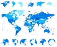 Mappa di mondo, globi, continenti - illustrazione Immagini Stock