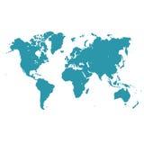 Mappa di mondo, illustrazione di vettore nella progettazione piana per i siti Web, progettazione di Infographic Fotografia Stock Libera da Diritti