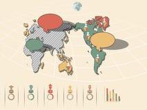 Mappa di mondo infographic Immagine Stock