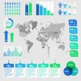 Mappa di mondo infographic Immagine Stock Libera da Diritti