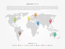 Mappa di mondo infographic con i puntatori variopinti Immagini Stock Libere da Diritti
