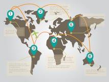 Mappa di mondo Infographic con il simbolo del punto ed il modello del confine del testo Fotografia Stock