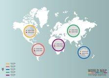 Mappa di mondo Infographics Immagini Stock