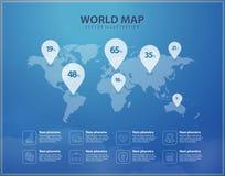 Mappa di mondo moderno con progettazione grafica dei perni Vettore infographic Fotografie Stock