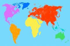 Mappa di mondo multicolore, isolata Fotografia Stock