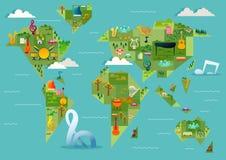 Mappa di mondo musicale geometrica illustrazione di stock