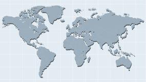 Mappa di mondo nel retro vettore di stile della nave illustrazione di stock