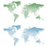 Mappa di mondo nella struttura dell'acquerello Immagini Stock