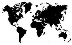 Mappa di mondo nera con divisione di paese - vettore Immagini Stock