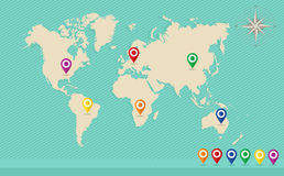 Mappa di mondo, perni di posizione di geo, archivio di vettore della rosa dei venti EPS10. Fotografia Stock