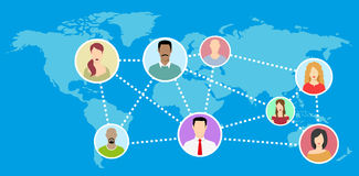Mappa di mondo piana con l'avatar della rete - illustrazione Immagini Stock Libere da Diritti