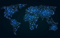 Mappa di mondo poligonale astratta con i punti caldi Immagini Stock
