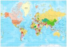 Mappa di mondo politica altamente dettagliata con l'etichettatura illustrazione vettoriale