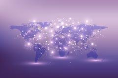 Mappa di mondo politica con il concetto globale della rete di tecnologia Visualizzazione di dati di Digital Allinea il plesso Gra Fotografia Stock
