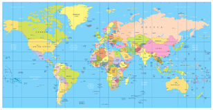 Mappa di mondo politica dettagliata: paesi, città, corpi di acqua