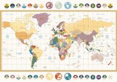 Mappa di mondo politica di colore d'annata con le icone ed il glob piani rotondi Fotografie Stock