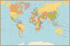 Mappa di mondo politica di grande colore d'annata dettagliato Fotografie Stock