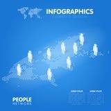 Mappa di mondo punteggiata con il simbolo della gente Illustrazione di vettore di concetto di tecnologia di rete sociale Fotografie Stock Libere da Diritti