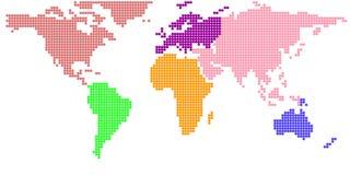 Mappa di mondo in punto rotondo Fotografie Stock