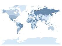 Mappa di mondo in quattro tonalità del blu d'argento su fondo bianco Mappa politica dell'alto dettaglio con i nomi di paese Vetto Fotografia Stock Libera da Diritti