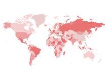 Mappa di mondo in quattro tonalità del rosa su fondo bianco Mappa politica dell'alto spazio in bianco del dettaglio Illustrazione Fotografie Stock Libere da Diritti