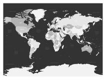 Mappa di mondo in quattro tonalità di grey su fondo scuro Mappa politica dell'alto spazio in bianco del dettaglio Illustrazione d Fotografia Stock Libera da Diritti