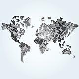 Mappa di mondo relativa alle linee del circuito Immagine Stock Libera da Diritti