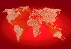Mappa di mondo rossa espelsa pesante che consiste dei punti Fotografie Stock