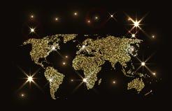 Mappa di mondo scintillante dell'oro Fotografie Stock Libere da Diritti