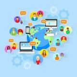 Mappa di mondo sociale della gente della comunicazione globale di media Immagini Stock