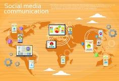 Mappa di mondo sociale della gente della comunicazione globale di media Fotografie Stock Libere da Diritti