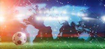 Mappa di mondo sopra dello stadio di football americano una concorrenza della coppa del Mondo fot - 3d Immagini Stock