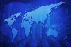 Mappa di mondo sopra il fondo finanziario della torre della città e del grafico, Elemen Fotografia Stock Libera da Diritti