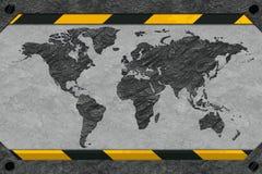 Mappa di mondo sotto forma di roccia. Fotografie Stock