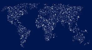 Mappa di mondo sotto forma di stelle brillanti nel cielo royalty illustrazione gratis