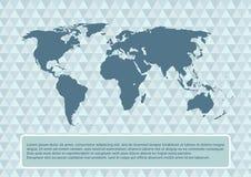 Mappa di mondo su fondo astratto, illustrazione di vettore Fotografia Stock
