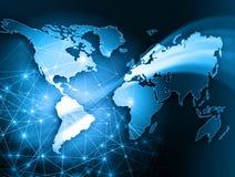 Mappa di mondo su un fondo tecnologico, emettente luce illustrazione di stock