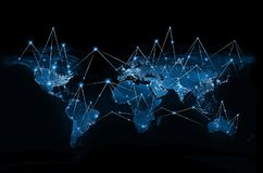 Mappa di mondo su un fondo tecnologico Migliore concetto del Internet del commercio globale Elementi di questa immagine ammobilia illustrazione di stock