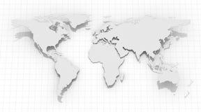 Mappa di mondo sul fondo di griglia Immagini Stock