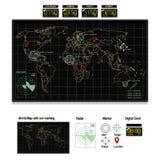Mappa di mondo sul monitor Immagini Stock