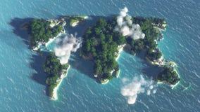 Mappa di mondo sull'acqua, isola con gli alberi e nuvole Fotografie Stock Libere da Diritti
