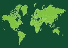 Mappa di mondo verde con i paesi Immagini Stock Libere da Diritti