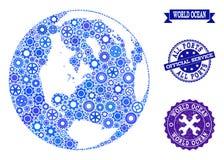 Mappa di mosaico dell'oceano globale con le ruote ed i timbri di gomma di ingranaggio per i servizi illustrazione di stock