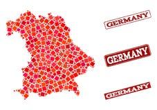 Mappa di mosaico della Germania e della composizione graffiata della guarnizione della scuola illustrazione vettoriale