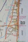Mappa di Myrtle Beach, Sc Fotografie Stock Libere da Diritti