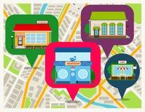 Mappa di navigazione con i perni dei negozi Fotografie Stock Libere da Diritti