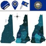 Mappa di New Hampshire con le regioni fotografia stock libera da diritti