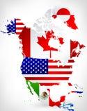Mappa di Nord America con le bandiere 2 Fotografia Stock Libera da Diritti